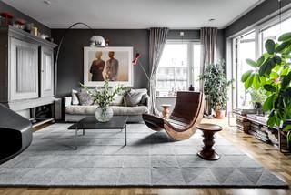 8 beispiele f r grau als wandfarbe im wohnzimmer. Black Bedroom Furniture Sets. Home Design Ideas