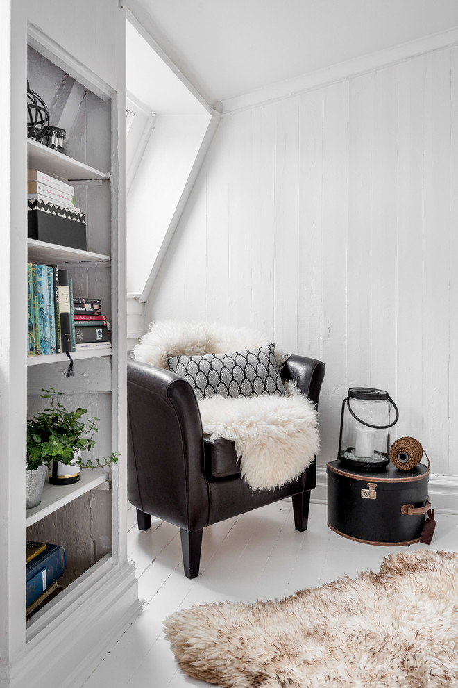 Mid-sized danish formal and open concept painted wood floor living room photo in Gothenburg with white walls and no tv