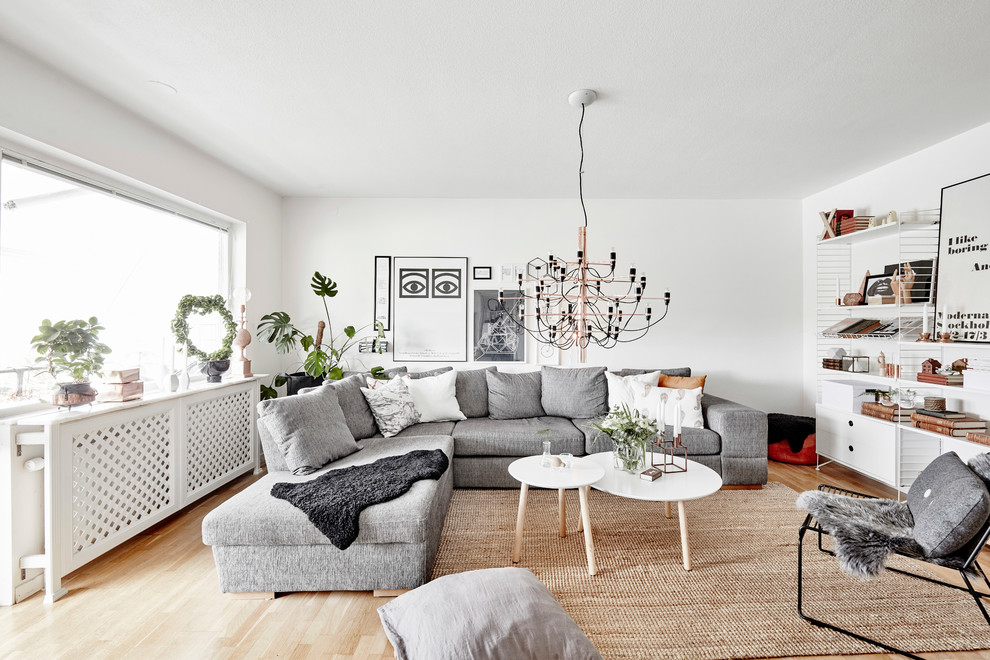 Example of a mid-sized danish light wood floor and beige floor living room design in Other with white walls