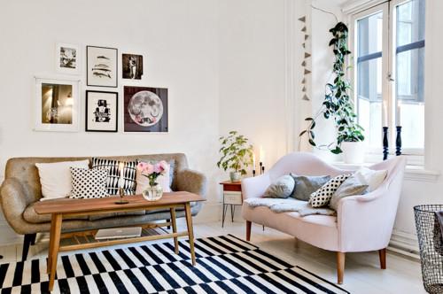 tapis style graphique avec rayures noires et blanches