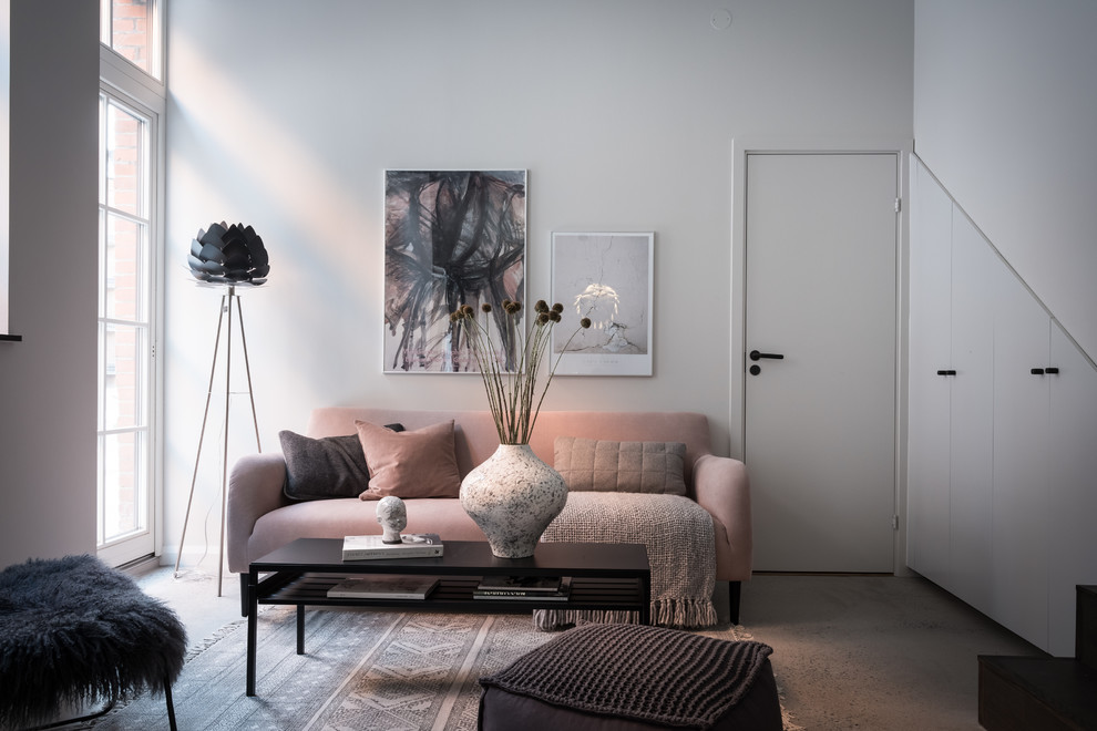 Living room - small scandinavian enclosed concrete floor and gray floor living room idea in Gothenburg with white walls