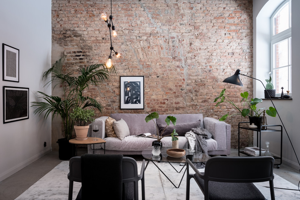 Inspiration for a mid-sized scandinavian enclosed and formal gray floor and concrete floor living room remodel in Gothenburg with white walls