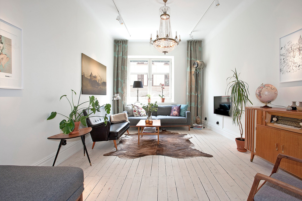Living room - mid-sized scandinavian formal and enclosed painted wood floor living room idea in Malmo with white walls, no fireplace and a wall-mounted tv