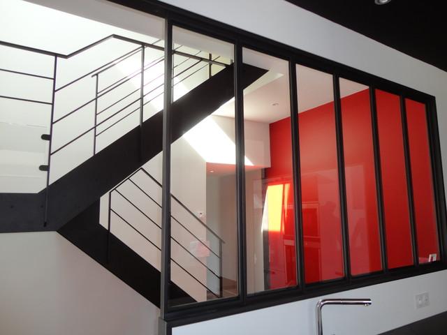Escalier acier bois et palier interm diaire verre for Verriere bois interieure