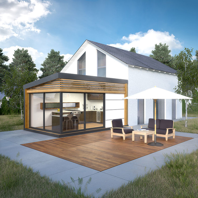Extension de maison cozyhome contemporain v randa et for Extension cuisine sur jardin