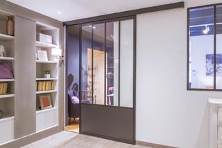 porte coulissante style atelier sur mesure. Black Bedroom Furniture Sets. Home Design Ideas