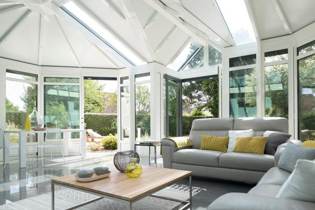 Prise de vue véranda rideau modèle eleganz par garnier studios contemporain veranda et