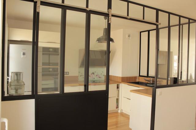 Verri re de cuisine avec porte coulissante - Separation vitree entre deux pieces ...