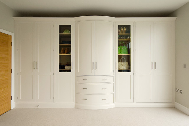 Transitional closet photo in Other with white cabinets and shaker Designer Bedroom Furniture  Houzz