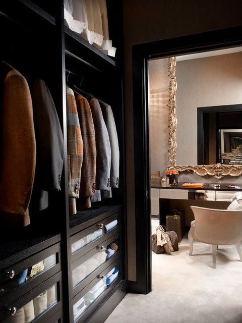 Mayfair apartment dressing room transitional closet for Apartment wardrobe design
