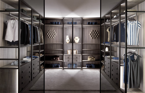 stylist and luxury modern closet designs. In this San Francisco dressing room and closet  the stunning black gown coordinating art contemporary light fixtures showcase homeowner s love of How To Turn A Walk Closet Into Glamorous Dressing Room