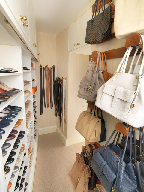 Walk in Closet with storage for Shoes and Handbags by Tim Wood - Traditional - Closet - London - by Tim Wood Limited