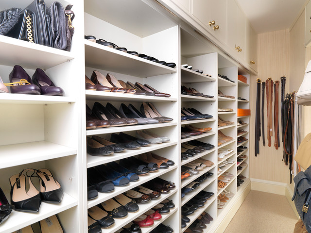 walk in closet with storage for shoes and handbags