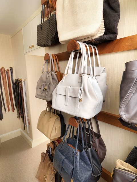 Walk in closet with storage for shoes and handbags - Closet organizer for purses ...
