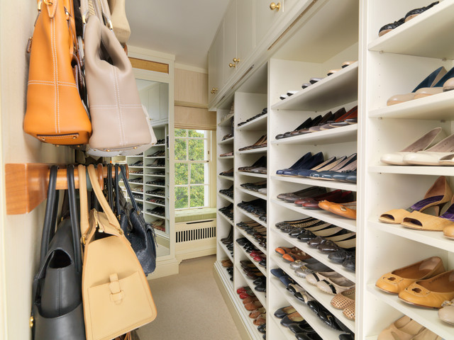 Exceptional Walk In Closet With Storage For Shoes And Handbags Traditional Closet