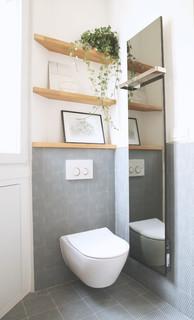 Photos Et Idees Deco De Wc Et Toilettes Avec Un Carrelage Gris Janvier 2021 Houzz Fr