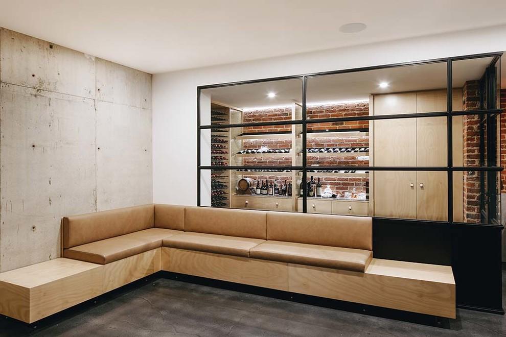 Design ideas for a contemporary wine cellar in Adelaide.