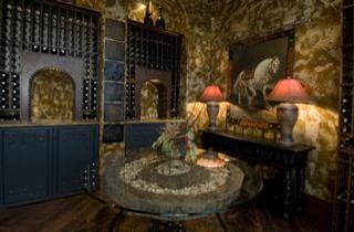 A Vintage Wine Room with all the Amenities mediterranean-wine-cellar