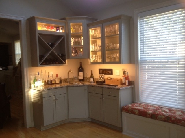 Addition of bar area and tv built ins traditional wine for Built in kitchen bar