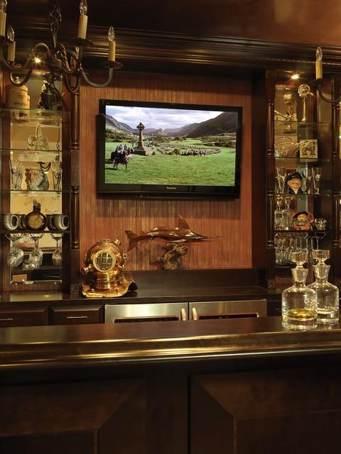 Aged Backsplash On Bar Traditional Wine Cellar St