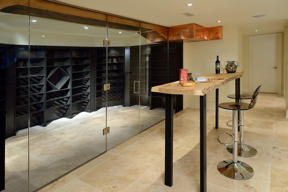 Wine cellar - contemporary beige floor wine cellar idea in Toronto with storage racks