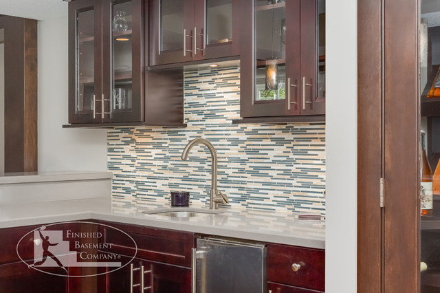 Basement Bar Cabinets & Back Splash - Traditional - Wine Cellar - minneapolis - by Finished ...