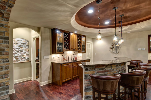 Basement Walk Behind Bar Traditional Wine Cellar