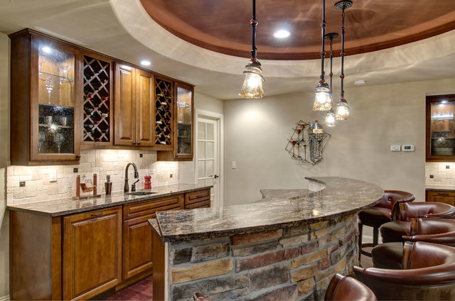 Basement Wet Bar Pendant Lighting Traditional Wine