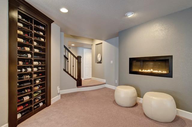 Basement Wine Rack Amp Fireplace Transitional Wine