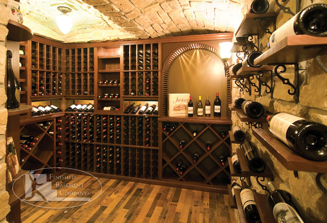 Basement wine racks traditional wine cellar for Build a wine cellar