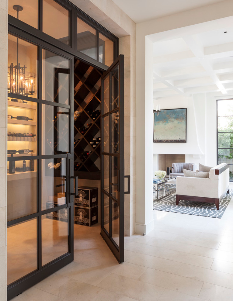 Inspiration for a mediterranean beige floor wine cellar remodel in Dallas