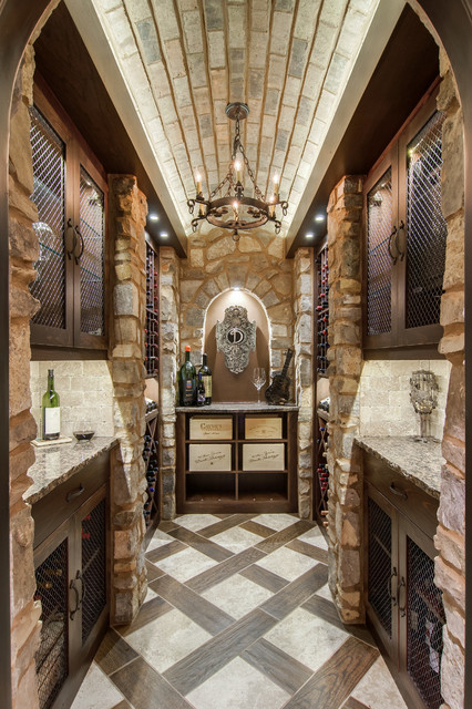 Closet converted into a custom wine cellar mediterranean for What kind of paint to use on kitchen cabinets for how to make bottle cap wall art