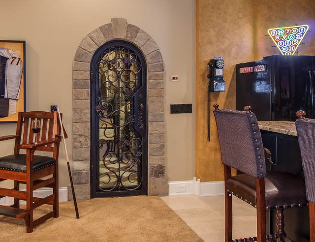 Closet converted into a custom wine cellar mediterranean for Turn closet into wine cellar