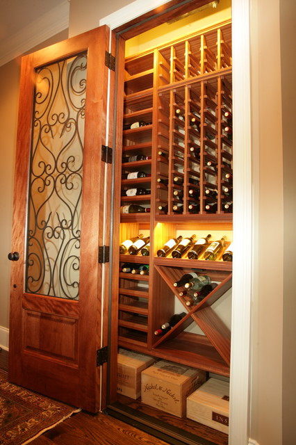 Closet Converted To Wine Cellar Traditional