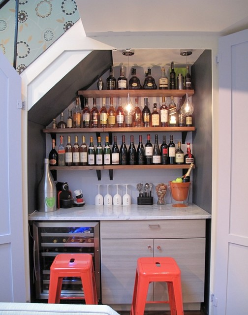 Closet Wine Bar Conversion Contemporary Wine Cellar