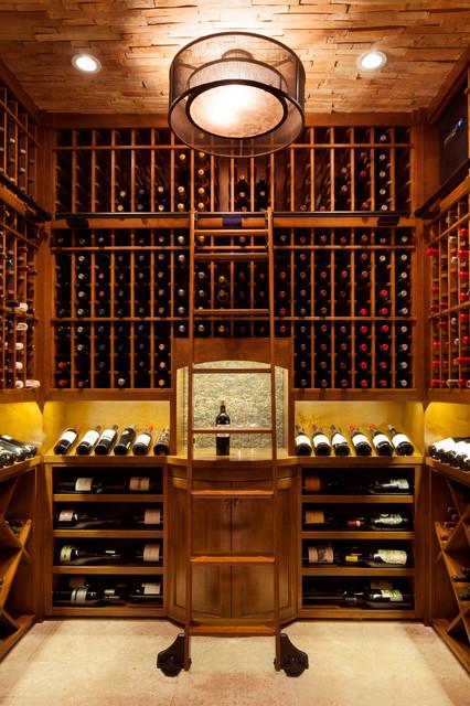 Colorado Ski House transitional-wine-cellar