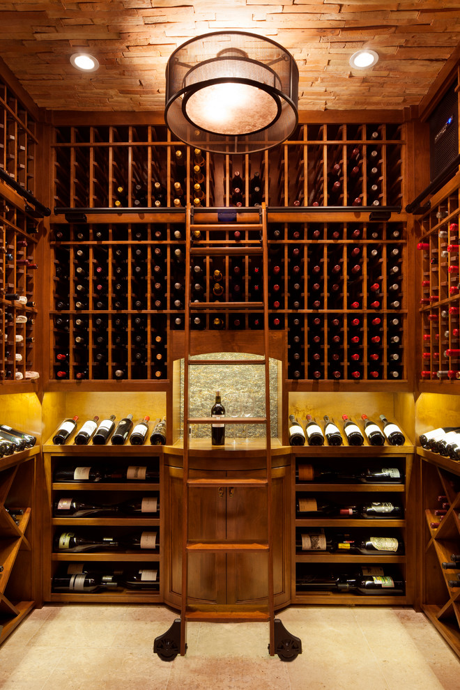 Inspiration for a transitional wine cellar remodel in Philadelphia with storage racks