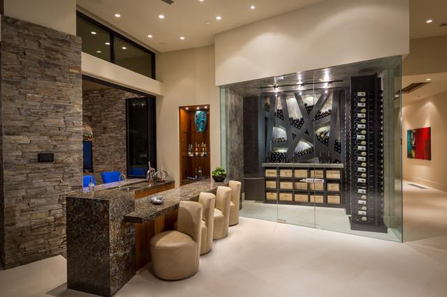 Contemporary bar area for Modern wine bar design