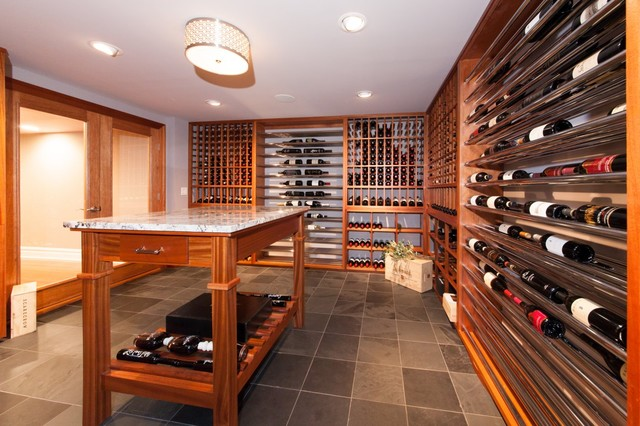 Contemporary Basement Wine Cellar And Tasting Room