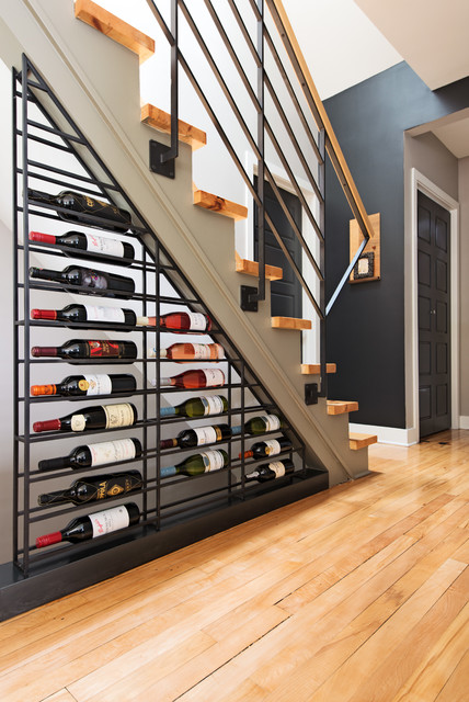 Contemporary Wine Cellar/staircase by Kim Lapointe Interior Designer -  Montreal contemporary-wine-