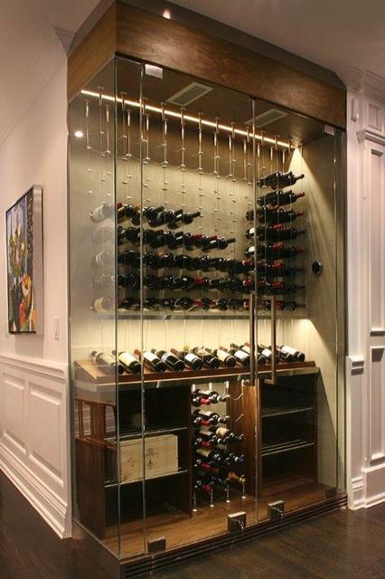 Corner Wine Cellar With Glass Surround - Modern - Wine Cellar - toronto - by Evolution Wine Rooms