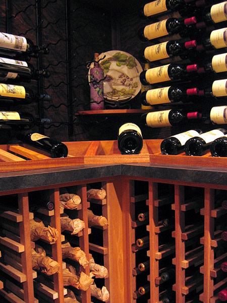 Custom Cellar With WineRacks.com Wood and Metal Racks contemporary-wine-cellar