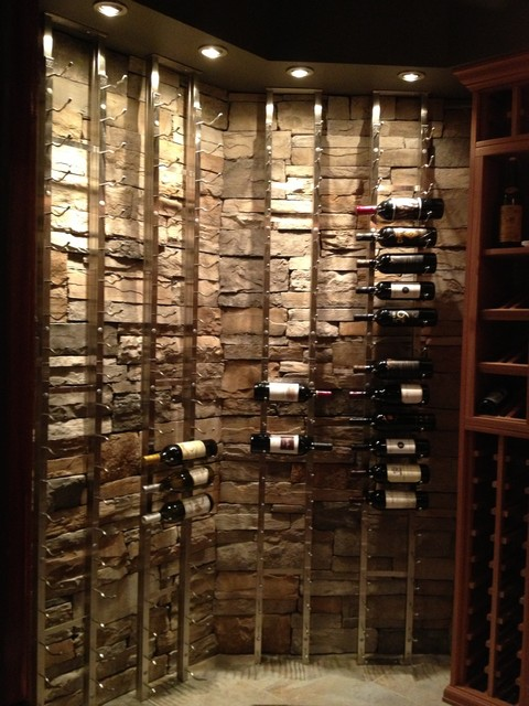 Custom Cellar With WineRacks.com Wood and Metal Racks - Traditional - Wine Cellar - New York ...