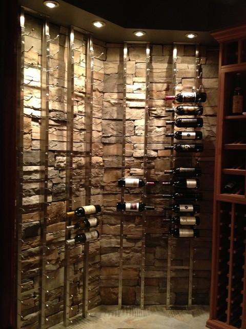 Custom cellar with wood and metal racks for Building wine racks for cellar
