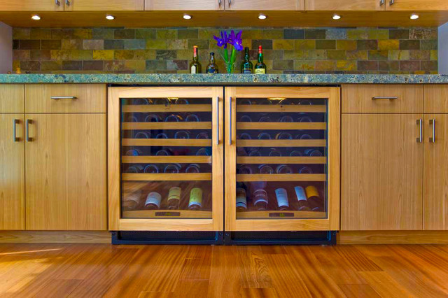Custom Family Room Wine Sideboard With 2 Wine Coolers