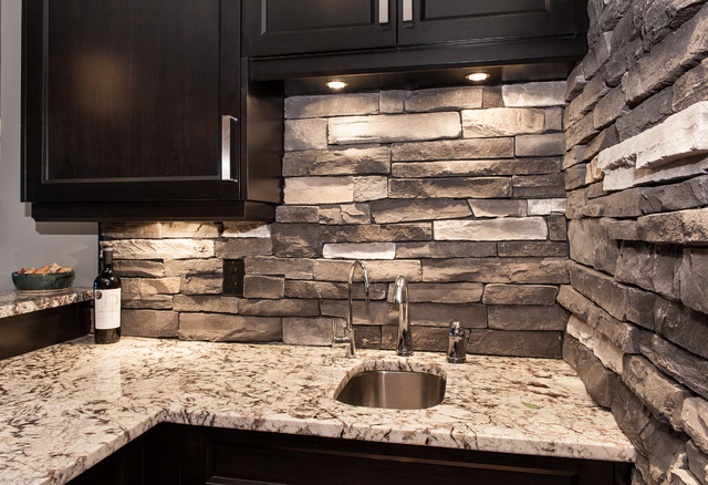 Custom Lake Front Home With Canmore Uintah Ledgestone - Contemporary ...