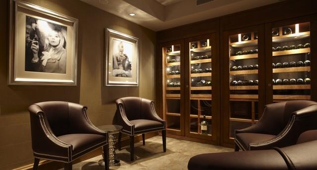 Custom Wine Cabinet - Walnut stained oak - Contemporary - Wine Cellar ...