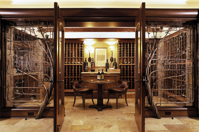 House at Three Tree Point contemporary-wine-cellar