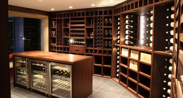 custom wine cellar wenge wood moderne cave vin other metro par degre 12 custom. Black Bedroom Furniture Sets. Home Design Ideas