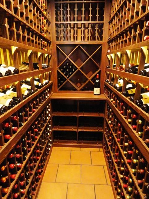 Distressed & Weathered Redwood - Traditional - Wine Cellar - san diego - by Vintage Cellars